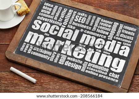 social media marketing word cloud on  a vintage blackboard with a cup of coffee - stock photo