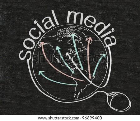 social media marketing written on blackboard background with world - stock photo