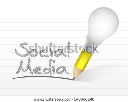 social media message written with a light bulb pencil. illustration design - stock photo