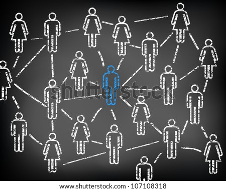 Social media network and connections on black chalkboard. Men and women. Focus on man.