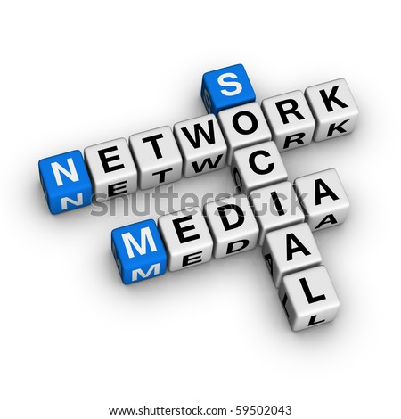 Social Media Network  (blue-white cubes crossword series)