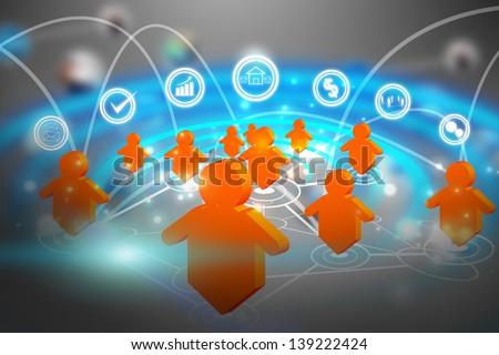social media network communication - stock photo