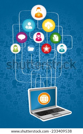 Social media network communication concept with notebook and app icons. - stock photo