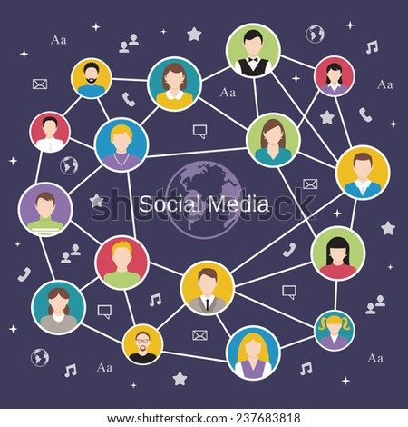 Social media network concept with male and female avatars connected  illustration