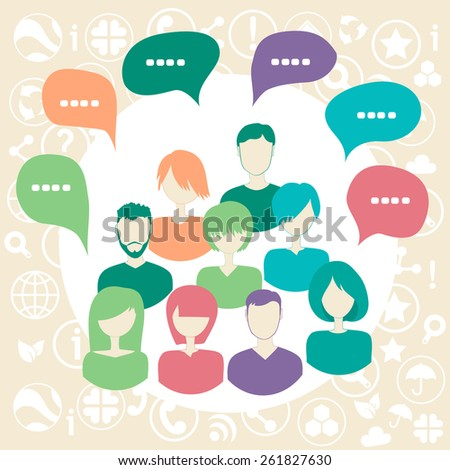 Social media network connection concept with group of people surrounded by social icons. - stock photo