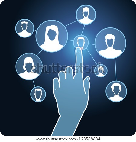 social media network - hand and touchscreen with icons - raster illustration - stock photo