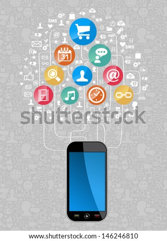 Social media network icon set diagram with smartphone.