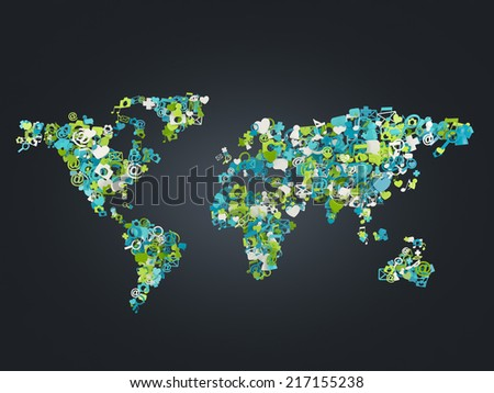 Social media network icons in world map shape concept  - stock photo
