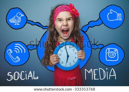 social media network  infographics set sketch teen girl clock keeps screaming - stock photo