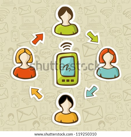 Social media network marketing people interaction with smartphone.