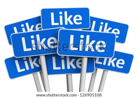 Social media networking concept: group of blue signs with Like text word isolated on white background - stock photo