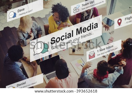 Social Media Networking Connection Communication Concept - stock photo
