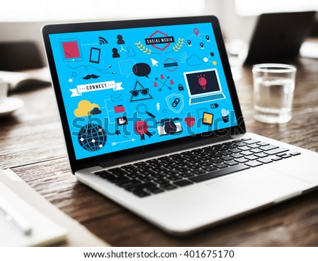 Social Media Networking Internet Technology Concept - stock photo