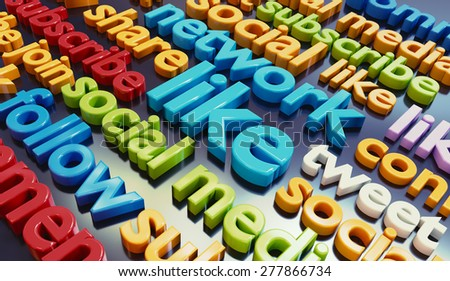 Social media networking related colorful 3D words background. - stock photo