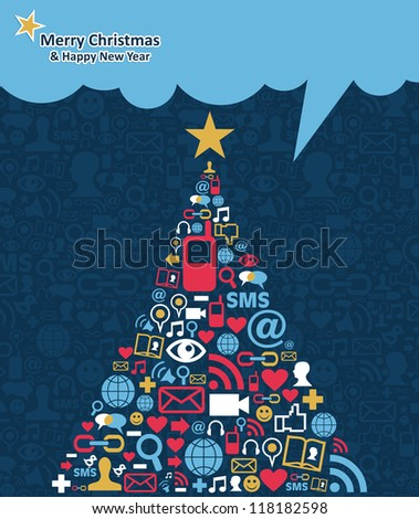 Social media networks icon set in Christmas pine tree greeting card background.