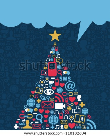 Social media networks icon set in Christmas pine tree greeting card background. - stock photo