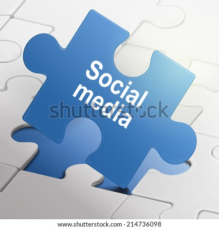 social media on blue puzzle pieces background - stock photo