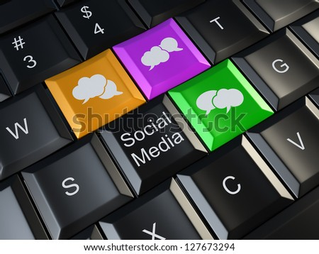Social media on laptop keyboard. Conceptual image. 3d - stock photo