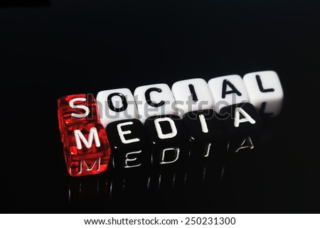 Social Media on red black  and  white  dices on  black  background - stock photo