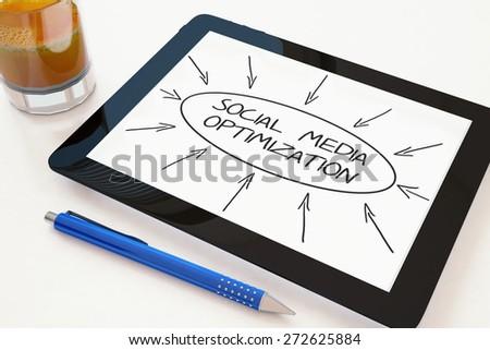 Social Media Optimization - text concept on a mobile tablet computer on a desk - 3d render illustration. - stock photo