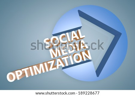 Social Media Optimization - text 3d render illustration concept with a arrow in a circle on blue-grey background