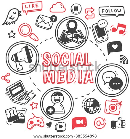 Social media or Internet themed doodle - stock photo