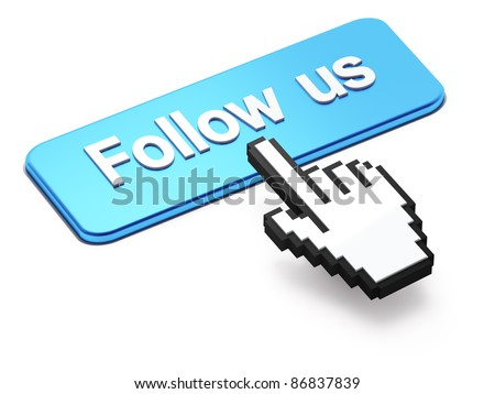 Social media or social network concept: Hand-shaped mouse cursor press Follow Us button on white background