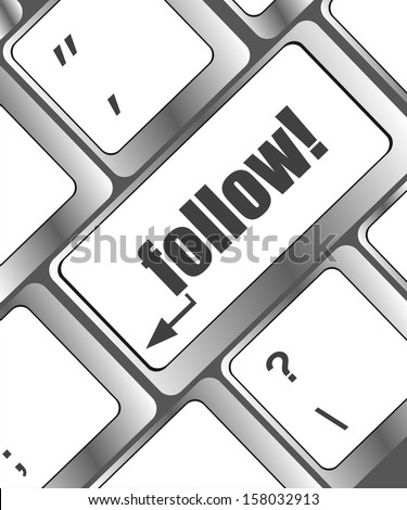 Social media or social network concept: Keyboard with follow button, raster