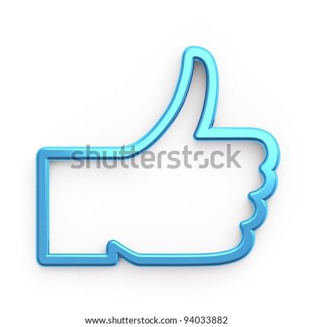 Social media or social network concept: Like symbol on white background,  3d render