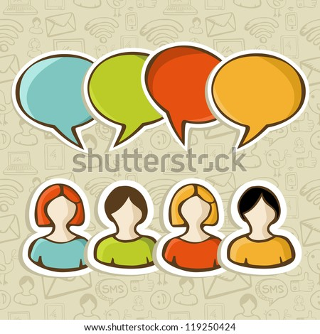 Social media people connection with speech bubble over over icon set pattern background. - stock photo