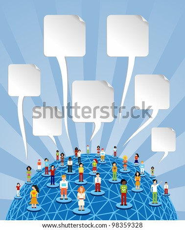 Social media people network connection concept with blank bubbles speech over World globe. - stock photo