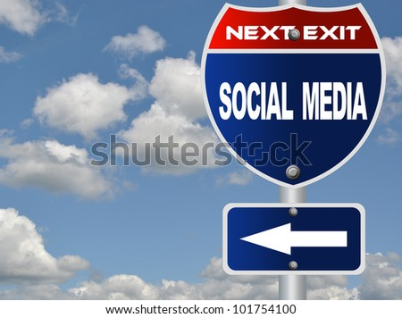 Social media road sign - stock photo