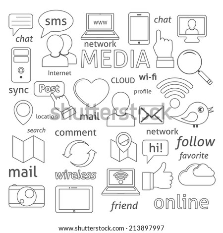 Social media sign for blogging networking and marketing communications isolated  illustration