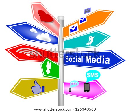 social media sign signs 3d direction - stock photo