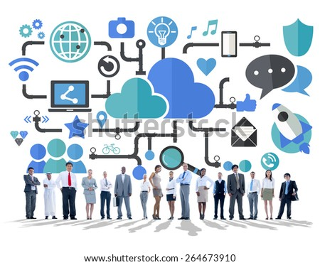 Social Media Social Networking Connection Data Storage Concept - stock photo