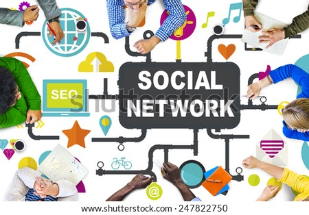 Social Media Social Networking Connection Global Concept - stock photo