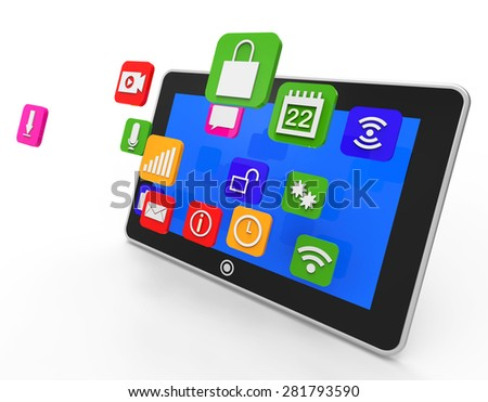 Social Media Tablet Meaning News Feed And Application - stock photo