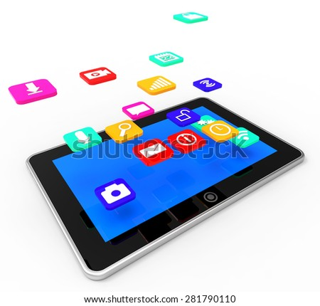 Social Media Tablet Showing News Feed And Online - stock photo