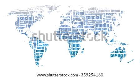 social media tag cloud / world map illustration - stock photo