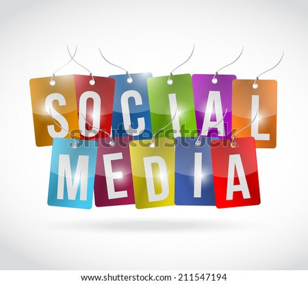social media tags illustration design over a white background - stock photo