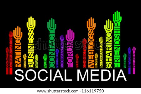 SOCIAL MEDIA text bar-code with hands, - stock photo