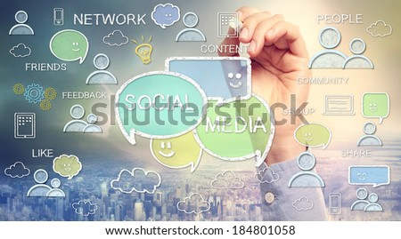 Social media texts and cartoon drawn with chalk sketches - stock photo