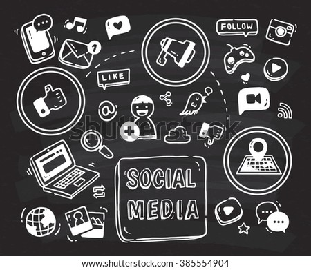 Social media themed doodle on black board - stock photo