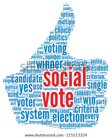 Social media vote concept in word tag cloud on white background - stock photo