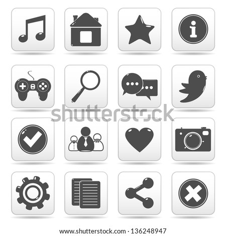 Social media web buttons, icons.