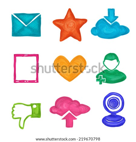 Social media website application elements painted icons set isolated  illustration - stock photo
