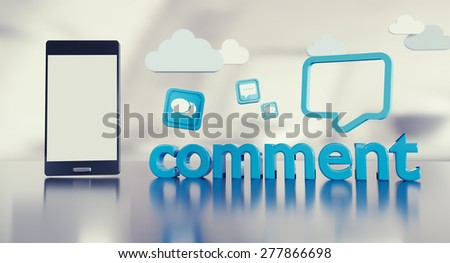 """Social media website or fanpage background with smartphone and """"comment"""" word encouraging users to comment. - stock photo"""