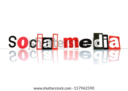 Social Media with newspaper letters - stock photo
