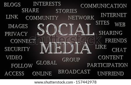 Social media word cloud written in luxurious chrome letters - stock photo