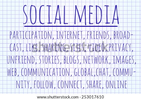 Social media word cloud written on a piece of paper - stock photo